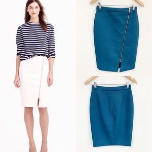 J. Crew Exposed side full Zip blue Pencil Skirt